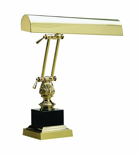 House of Troy P14-246 17-Inch Portable Desk/Piano Lamp, Polished Brass with Black Marble