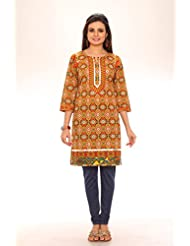 Red Chilly Women's Cotton Printed Floral Kurti-Navy Blue