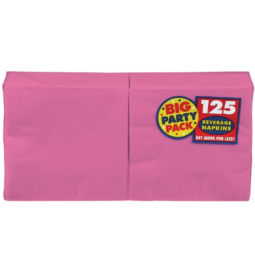 Amscan Big Party Pack 125 Count Luncheon Napkins, Bright Pink