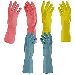 Primeway Rubberex Flocklined Rubber Hand Gloves, Medium, Set of 3 Pairs, Assorted