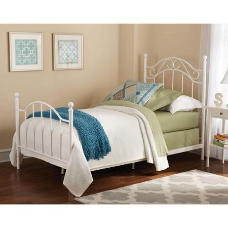 White Twin Bed Vintage Style Metal Frame Headboard and Footboard 0