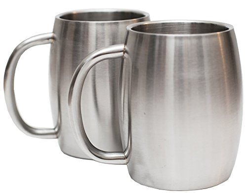 Set of 2 Avito Stainless Steel 14 Oz Double Walled Insulated Coffee Beer Tea Mugs - Best Value - BPA Free Healthy Choice - Shatterproof (Beer Can Coffee Mug compare prices)