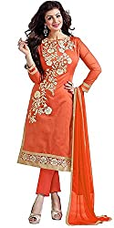 Yashvi Arts Women's New Fashion Designer Fancy Wear Collection Today Low Price Best Offer All Type Of Modern Orange Colored Chudidar Salwar Suit