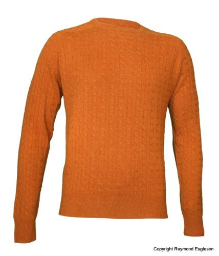 Noluur Mens Cable Cashmere Round Neck Jumper in Tuscan Orange Size XL