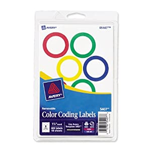 Avery Assorted Removable Color Coding Labels, 1.25 Inch Round, Pack of 400 (5407)