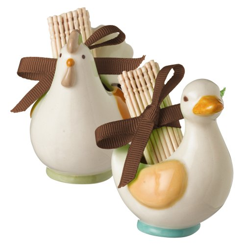 Grasslands Road Ceramic Spring Meadow Hen And Duck Toothpick Holder Assortment, 2-1/2-Inch, Set Of 12