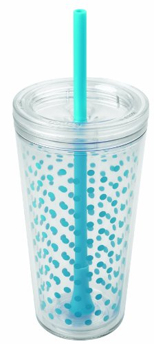 Copco 2510-0430 Minimus Tumbler with Straw, 24-Ounce, Cyan Blue Dots (Copco Tumbler Cup compare prices)