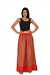 SNS Pure Cotton Printed Long Maxi Skirt with Jacquard Border
