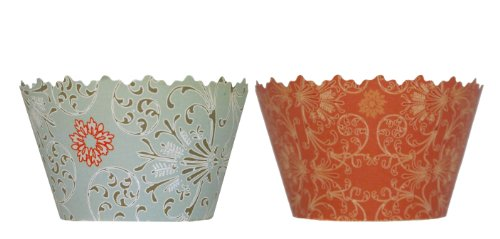 Reversible Blue Vintage Blossoms & Orange Sunrise Swirls Cupcake Wrapper - Set of 12 - Sweet Cup Cake Ideas