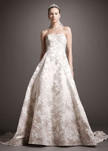 David's Bridal Wedding Dress: Satin Ball Gown with Ombre Beaded Lace Appliques Style CWG504