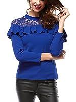 Elegancia Camiseta Manga Larga Cynthia (Azul)