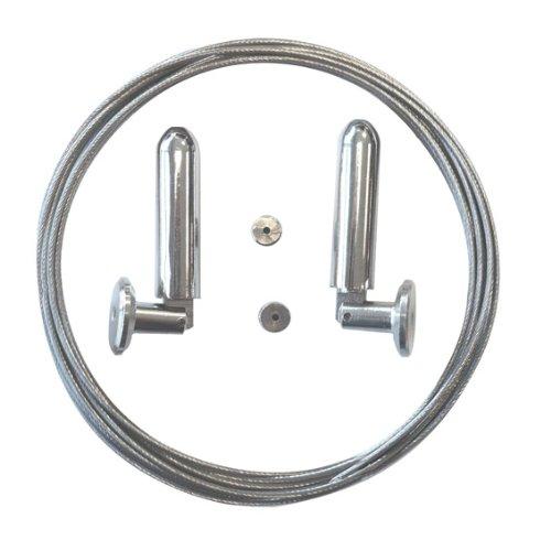 Ensemble cable acier (L5 m) Argent