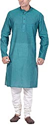 Kisah Men's Handloom Cotton Jacquard Kurta (KA-S-017K-40_Green_40)
