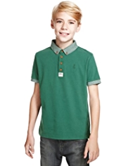 Pure Cotton Button-Down Collar T-Shirt