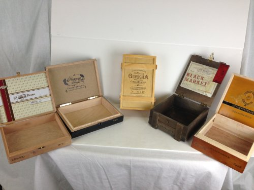 Premium Wooden Empty Cigar Boxes (5 Pack) 1