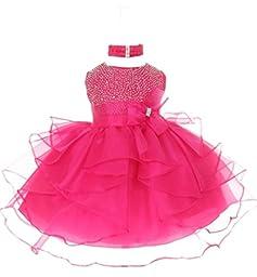 StylesILove Baby Girls Organza Rhinestuds Bow Sash Flower Girl Dress (12-18 Months, fuchsia)