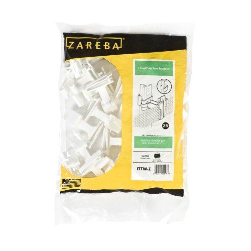 Zareba Ittw-Z T-Post Poly Tape Insulator, White, 25 Per Bag