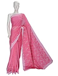 Lucknow Chikan Handicraft Exclusive Ethnic Women Pink Cotton Chikan Saree By Ada A75270