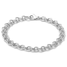 sterling silver double link charm bracelet