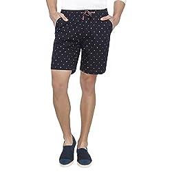 Origin Blue Cotton Printed Shorts for Men