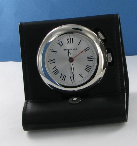 Montblanc 101569 Palladium-plated Travel Alarm Clock Qtz Black Leather Case