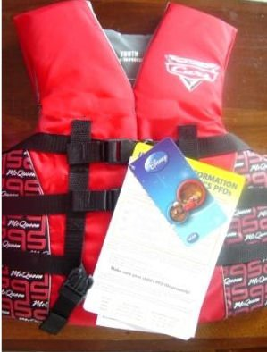 Disney Cars Youth Life Jacket (Red/Black, 50 - 90-Pound)