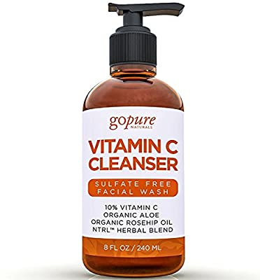 goPure Natural Facial Cleanser for Acne, Blemishes and Anti Wrinkle with Vitamin C, Rosehip Oil, Organic Aloe Vera - Gentle, Sulfate Free Face Wash for Men and Women - 8 Oz