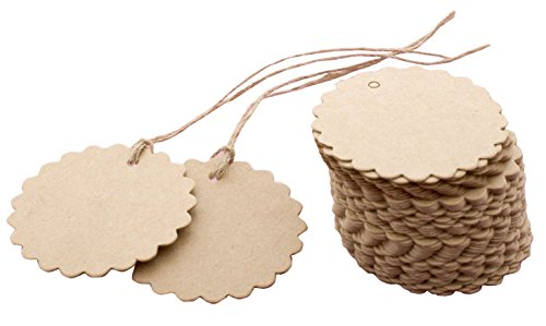 MERSUII 100 Pack Brown Scalloped Card Paper Tag Kraft Paper Tag Lolly Bag Bonbonniere Favor Gift Tags Twines Product Price Label With Jute/Strings, Great as Wedding Favour Tags, Gift Tags or Other Place Name Cards!