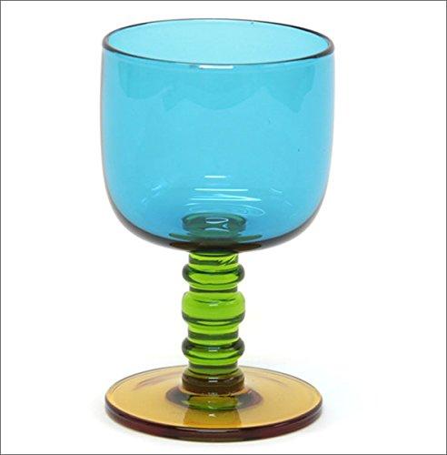 マリメッコ SUKAT MAKKARALLA STEMWARE 300ml 063943 760 turquoise/green/yellow カラー ワイングラス 脚付グラス [並行輸入品]