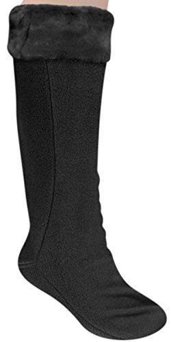 Capelli New YorkFleece With Plush Bunny Faux Fur Cuff Tall Rain Boot Liner Black Medium (Plush Boot Liner compare prices)