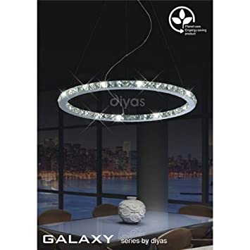 Galaxy Large Round Pendant Led 36 Light Chrome/Crystal   ÷Top Deals