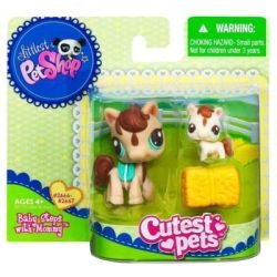 Petshop duo littlest petshop cutest pets 2666 maman cheval jument moka son b b 2667 poney - Petshop cheval ...