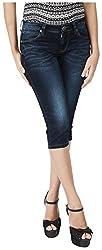 INTEGRITI Women's Slim Fit Capri (EXPLORE-LCP-101 EZYFT CRBNBL_26, Blue, 26)
