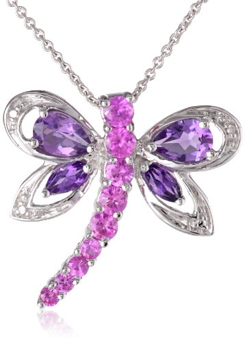 Sterling Silver Amethyst and Created Pink Sapphire Dragonfly Pendant Necklace, 18