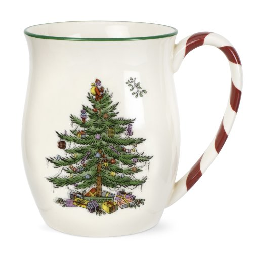 Spode Christmas Tree Candy Cane Mugs (Set of 4)