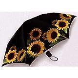 Mini Folding Rain or Sun Umbrella--Sunflowers