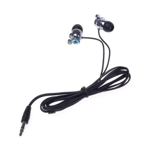 Bestdealusa 3.5Mm Blue Crystal Diamond In-Ear Stereo Earphone For Mobile Phone Mp3 Mp4