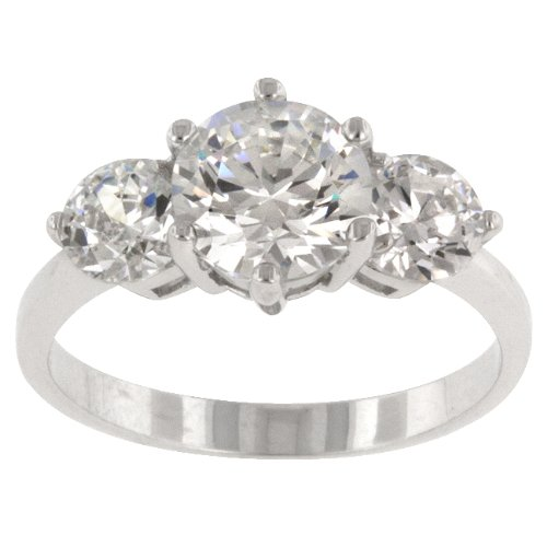 RIGHT HAND RING - .925 Sterling Silver Classic Ring with Triple Round Cut Clear CZ in a Prong Setting in Silvertone