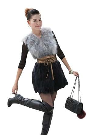 100% Real Genuine Fox Fur Vest Gilet at Amazon Women's Coats Shop