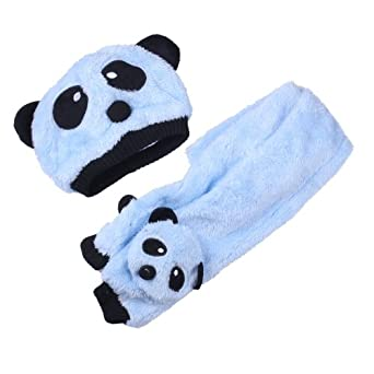 Vktech Toddler Baby Girl Boy Cap Cute Panda Kids Hat + Scarf Set Keep Warm