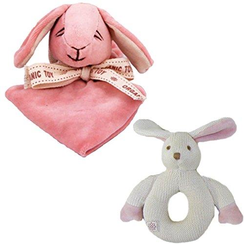 Miyim Simply Organic Lovie Blankie & Knit Rattle Teether Set, Bunny front-627902