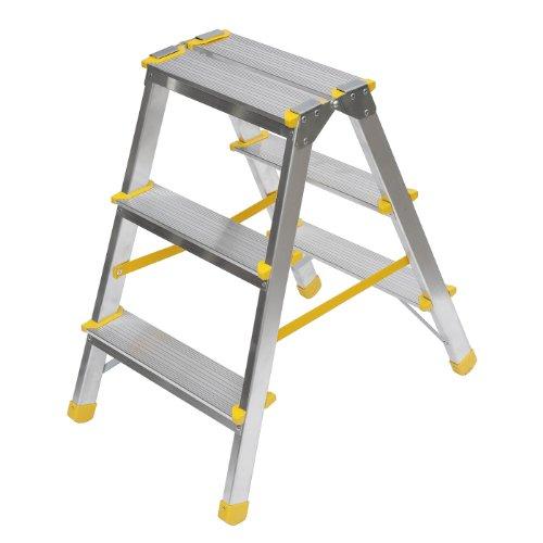 Aluminium-Trittleiter-beidseitig-begehbar-2x3-Stufen-150kg-Traglast