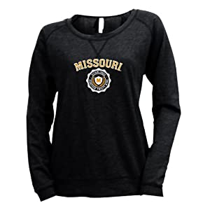 NCAA Missouri Tigers Ladies Striped Baby French Terry Crew Sweatshirt by Ouray Sportswear