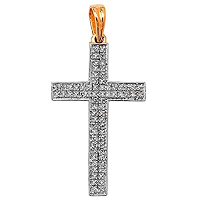 Mens 9ct Gold 0.26ct Pave Set Diamond Cross Pendant On A 16,18 or 20 Inch Curb Necklace