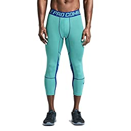 Nike Men\'s Dri-Fit Pro Hypercool Compression 3/4 Training Tights-Blue-Medium