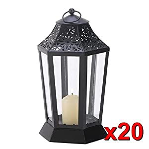 Set Of 20 Glossy Midnight Black Garden Candle Lanterns Wedding Centerpieces from GoodFeelDay