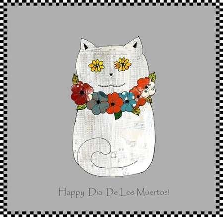 Feeling at home, Poster, Kunstdruck fuer Rahmen - Bild, GlŸcklicher Tag der toten Katze cm 83x86