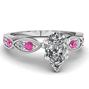 Fascinating Diamonds Round Pink Sapphire Milgrain Engagement Ring Pave Set 1 Ct Pear Shaped Diamond GIA