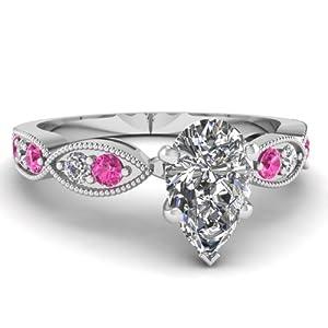 Fascinating Diamonds Round Pink Sapphire Milgrain Engagement Ring Pave Set 1 Ct Pear Shaped Diamond GIA