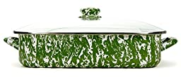 Golden Rabbit Lasagna Pan with Lid, Green